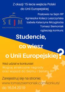 """Konkurs """"Studencie, co wiesz o Unii Europejskiej?"""""""